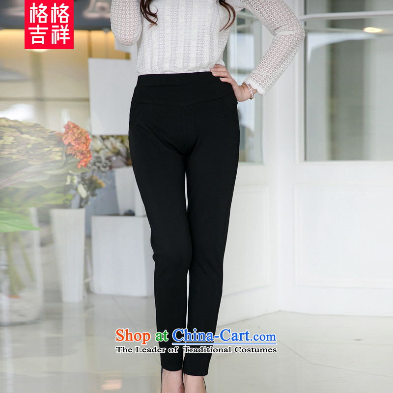 The interpolator auspicious to xl women 2015 Autumn new thick mm video coltish knitted elastic waist trousers, forming the castor pencil trousers V5053 black 2XL
