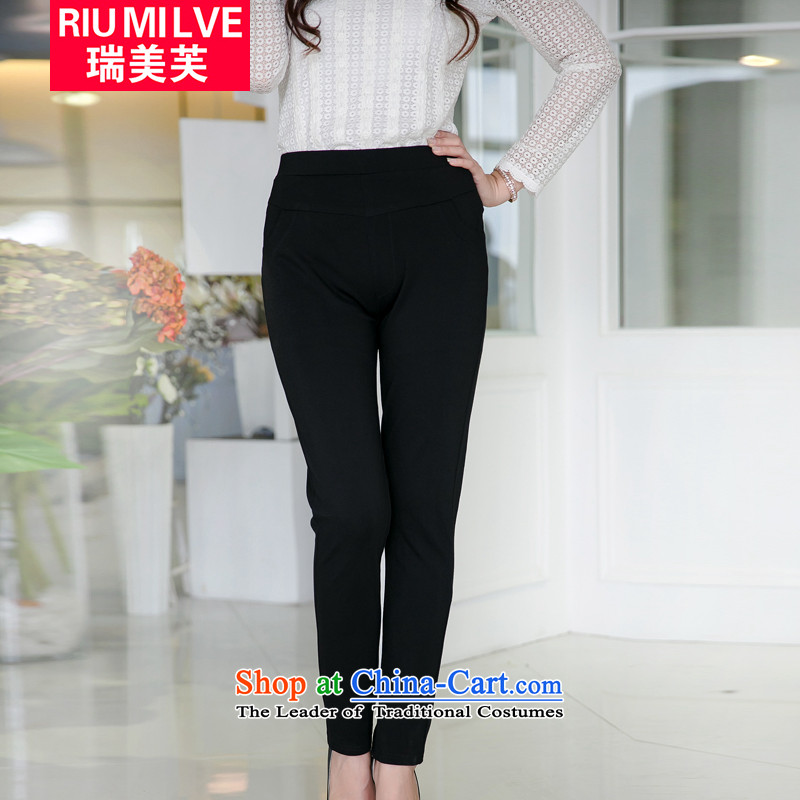 Rui Mei to?fall 2015 new xl women wear Casual Trousers 200 catties thick mm pencil castor trousers V5053?XXXXL black