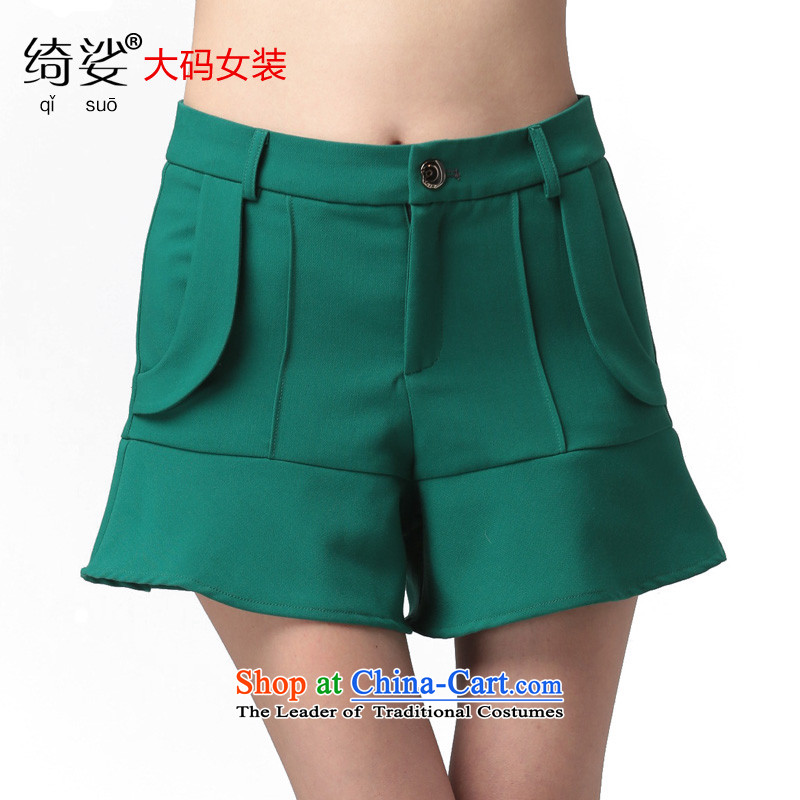 As provided for new spring MM thick larger female Korean billowy flounces to XL Graphics skinny shorts, 2591 Green聽2XL