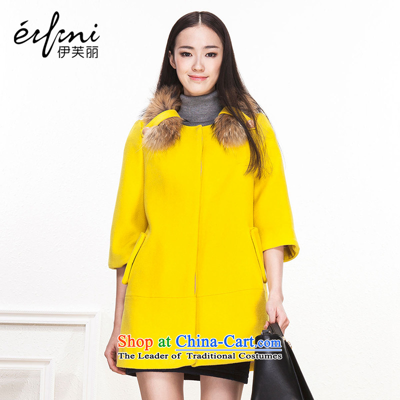 Of the 2015 Korean fashion, for long, gross wool coat jacket women gross? 6481237001 Yellow燲S