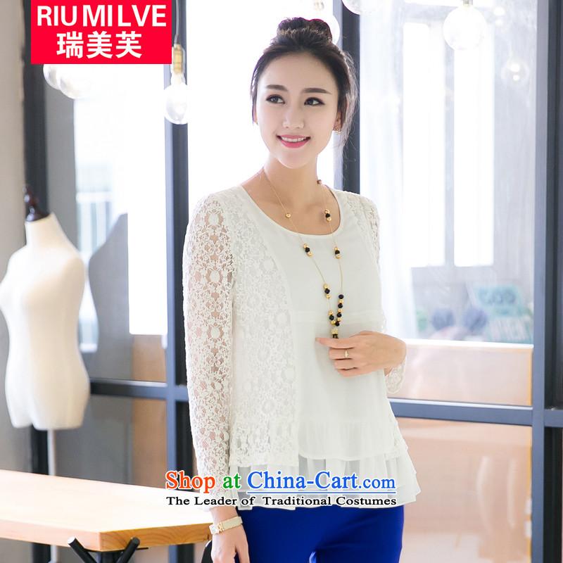 Rui Mei tospring 2015 new xl female sweet princess petticoats chiffon stitching engraving lace long-sleeved T-shirt v5030 WhiteXL