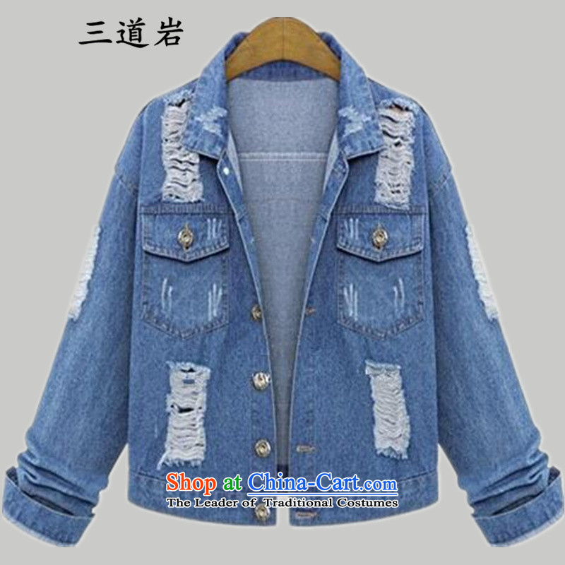 3 new spring and autumn 2015 rock loaded Korea long-sleeved Pullover lapel plus fertilizer female larger obesity video daughter thin coat S2335_ cowboy�L color picture