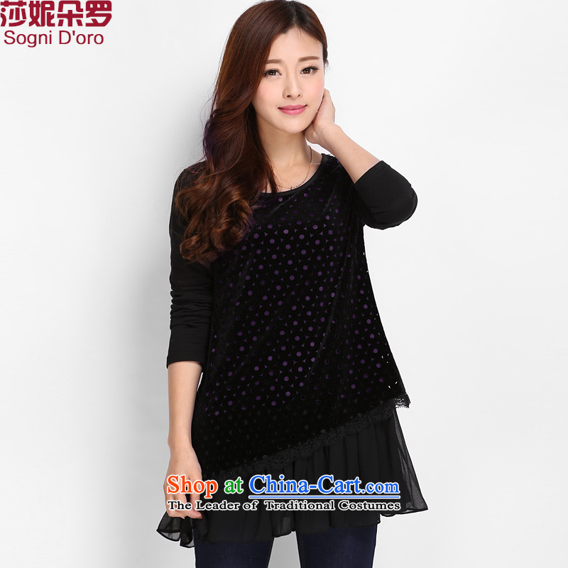 The latte macchiato, Shani to increase women's code 200 catties thick sister spring won T-shirts version thin coat 8022 Black�L female