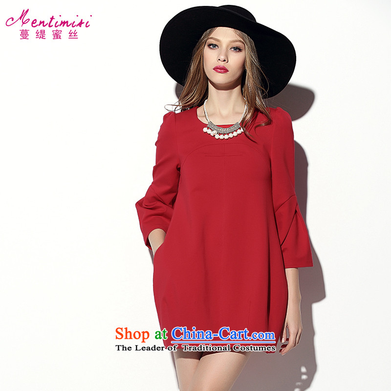 Golden Harvest autumn 2015 population honey economy with new large Western liberal women's dresses A2014 long-sleeved red large code L