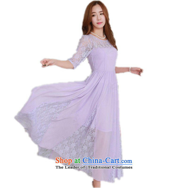 C.o.d. Package Mail Spring 2015 new sexy spend lace spell followed dresses ultra-sin elegant dress long skirt large chiffon beach skirt light purple聽 L聽approximately 105-120 catty