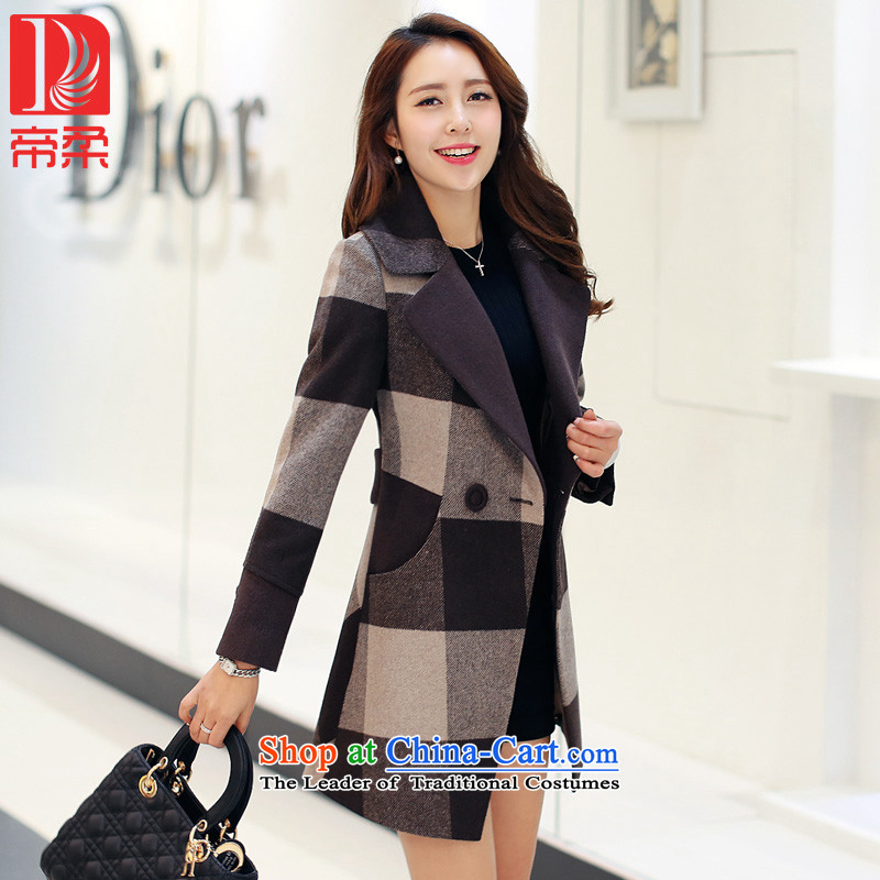 The new (DIROU)2015 Sophie Winter Female hair? jacket compartments wool a wool coat femaleDD299coffee-colored gridXXL