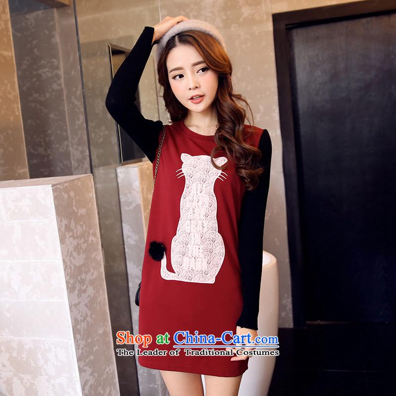 Maximum number of ladies 2014 mm thick winter clothing Korean New Graphics thin kitten alike stamp round-neck collar long-sleeved shirt relaxd dress dark red聽XXXL