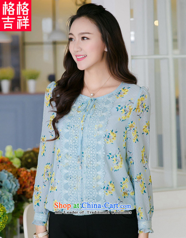 The interpolator auspicious?New_ Autumn 2015 large female thick MM video sweet thin lace stamp chiffon shirt long-sleeved T-shirt V5008 BLUE?3XL_ T-shirt for 165-180 catty_