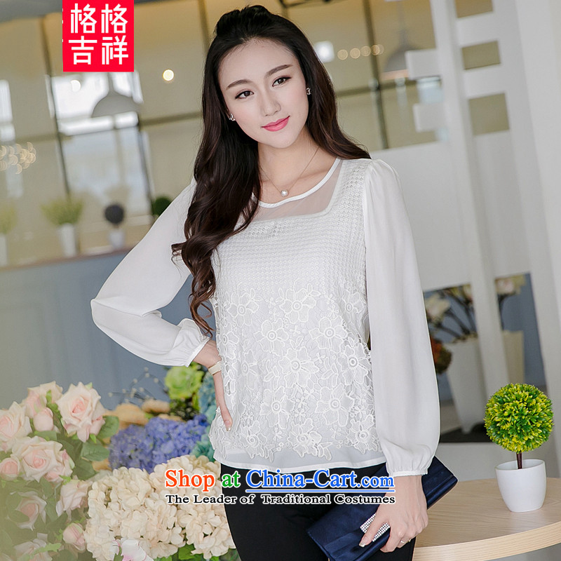 The interpolator auspicious xl women 2015 Autumn new lace stitching OSCE root yarn thick MM video thin bubbles Sau San-sleeve t-shirt, forming the Netherlands V5023 white�L_ 165-180 for a catty_