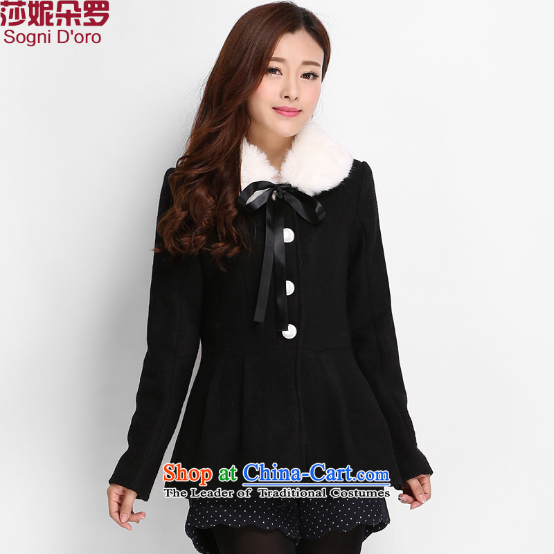 Luo Shani Flower Code women's gross? to increase women's jacket code 200 catties thick winter clothing Korean sister a wool coat 8005 Black?5XL- video daughter thin_?