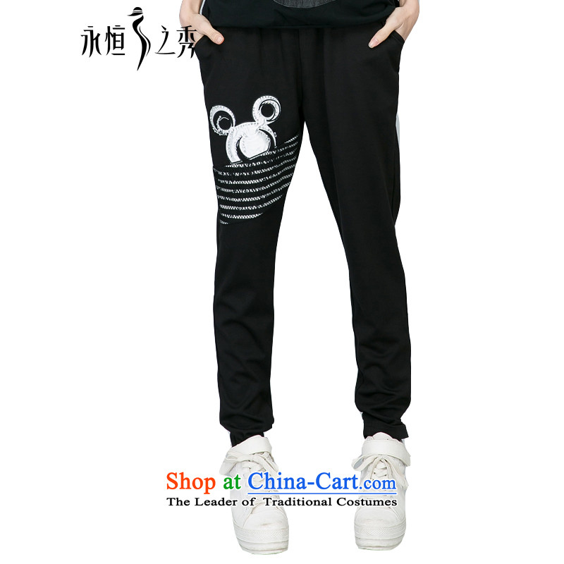 The Eternal Soo-To increase the number of video thin, thick autumn 2015 replacing larger women in the new mm thick waist stylish ironing drill video skinny Harun long trousers, black4XL