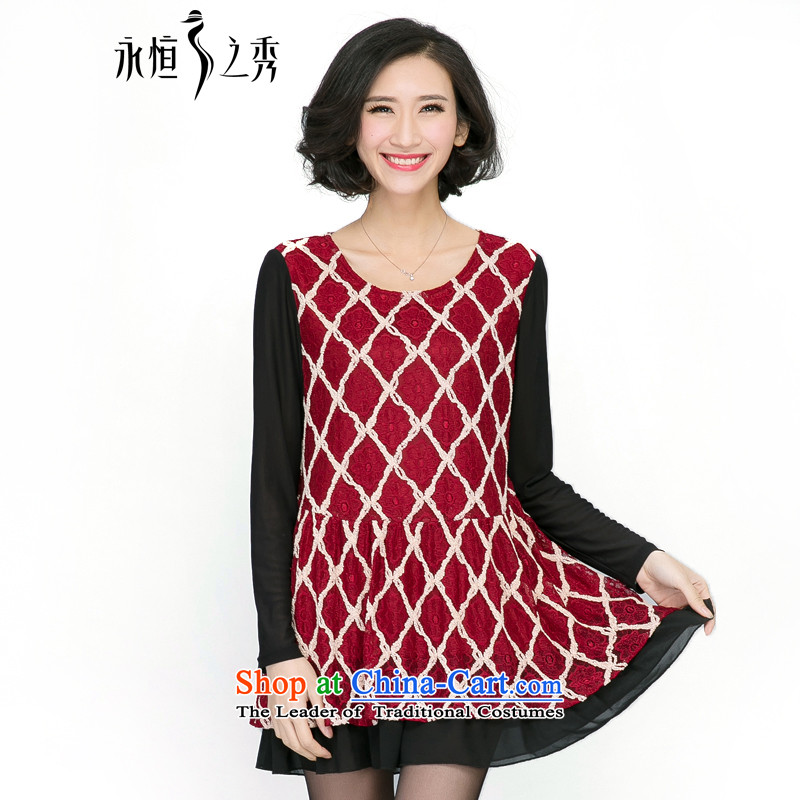 The Eternal Yuexiu Code women 2015 fall thick mm to replace XL Graphics thin new Korean fashion diamond lattices lace stitching chiffon dresses bourdeaux 4XL
