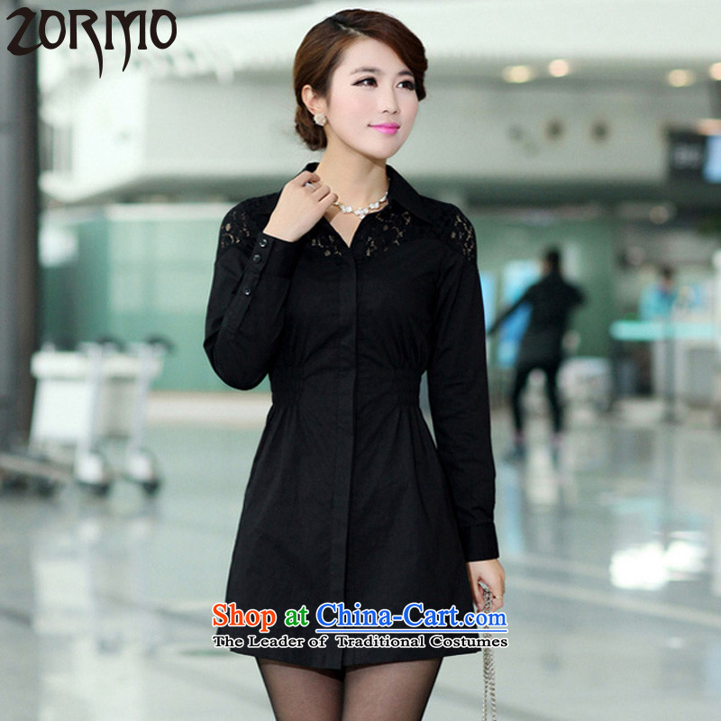 The autumn 2015 new ZORMO Korean female lace stitching to xl casual shirt thick black shirt燲XXL king mm 140-155 catty