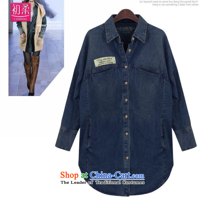 The earlyspring and autumn 2015, Sophie cowboy jacket Western Wind extra blouses 200 catties can wear thick MM thin coat Denim blueXXL