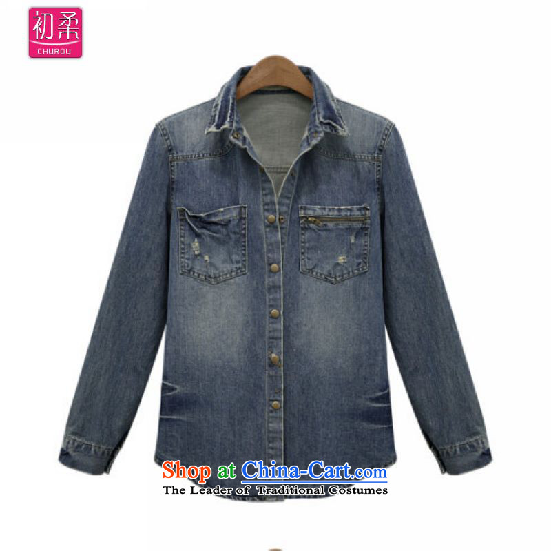 The early聽spring and autumn 2015 Sophie for women Western Wind Jacket thick MM video cowboy thin loose king xl cowboy shirt 200 catties can penetrate the picture color聽xxxxxl