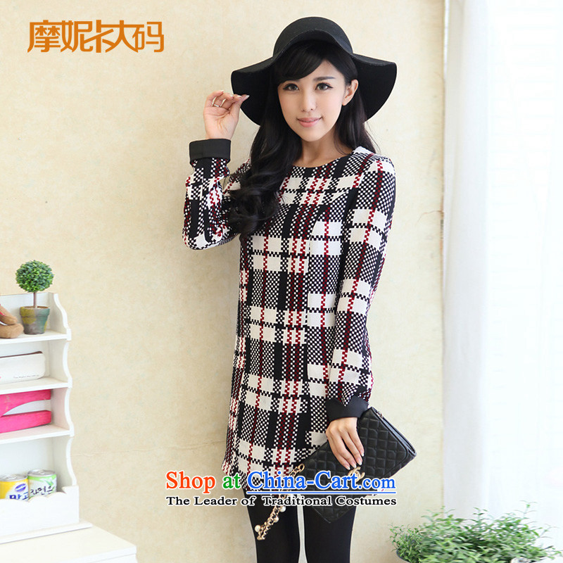 The fertilizer greatly code women 2014 mm thick autumn and winter new women's round-neck collar Sau San video suits skirts latticed thin checkered XXXL