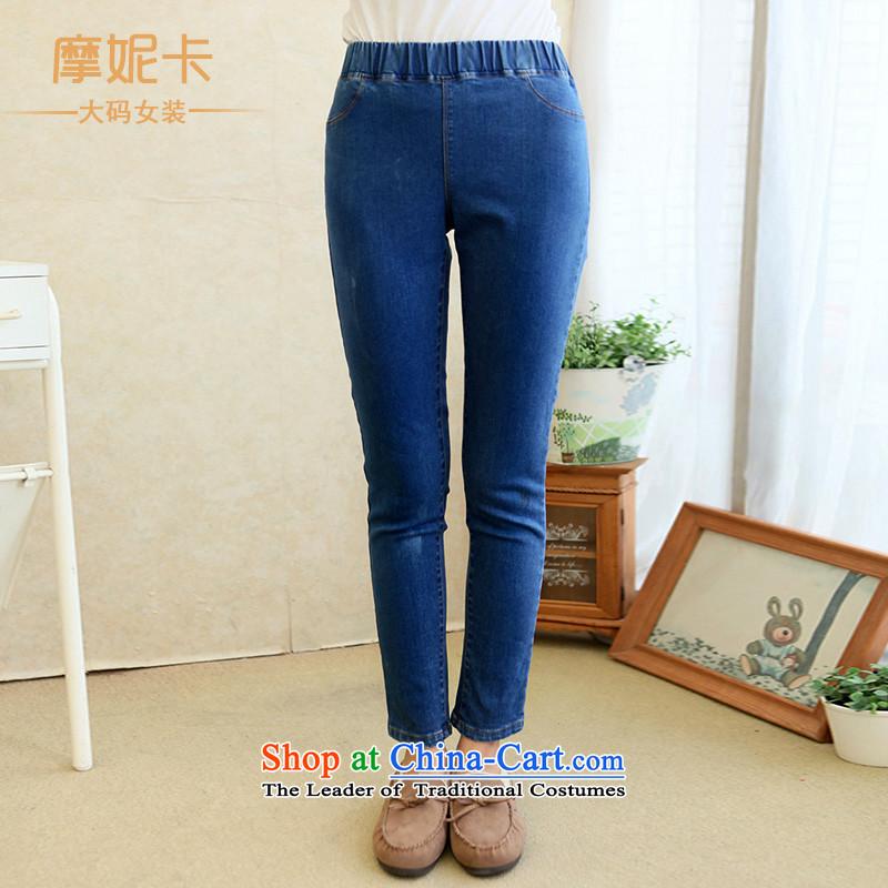 The fertilizer greatly code women 2014 mm thick winter clothing Korean New Graphics elastic waist elastic thin wash denim jeansXL