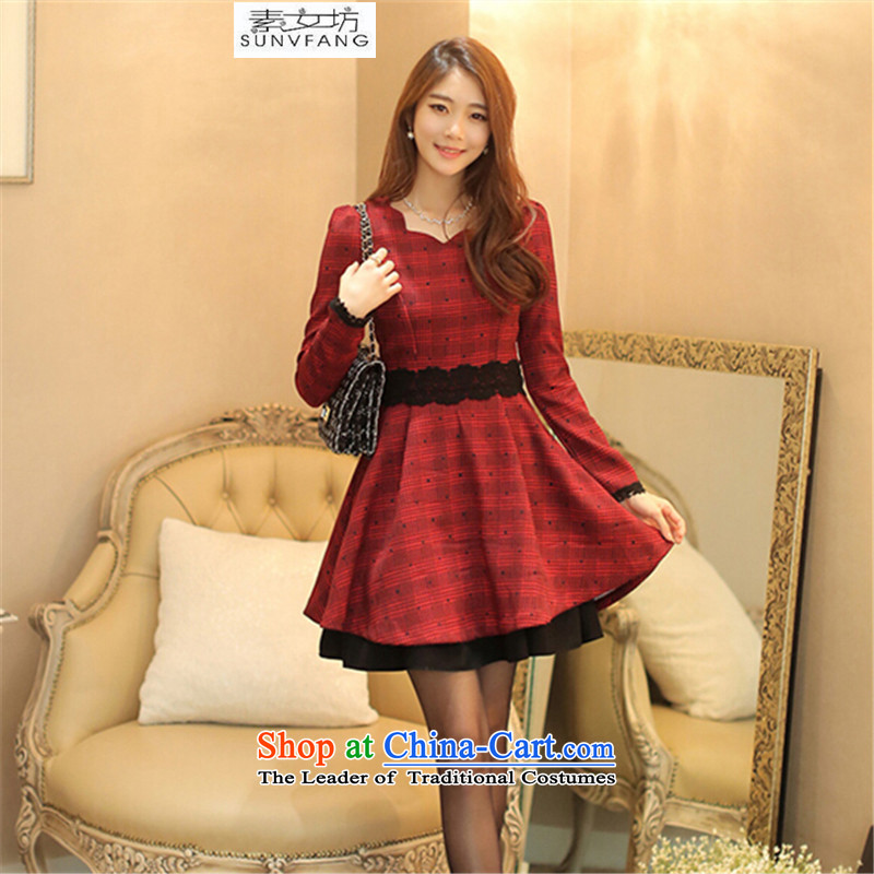 Motome Workshop2015 autumn and winter temperament long-sleeved thick video thin latticed skirt wear skirts and larger female new red 8803 RedXL