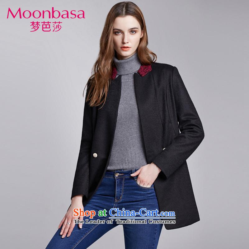 Mona Lisa and stylish elegance of stitching knocked lace collar in Sau San long wool coat�7314406 Korea?燽lack燣