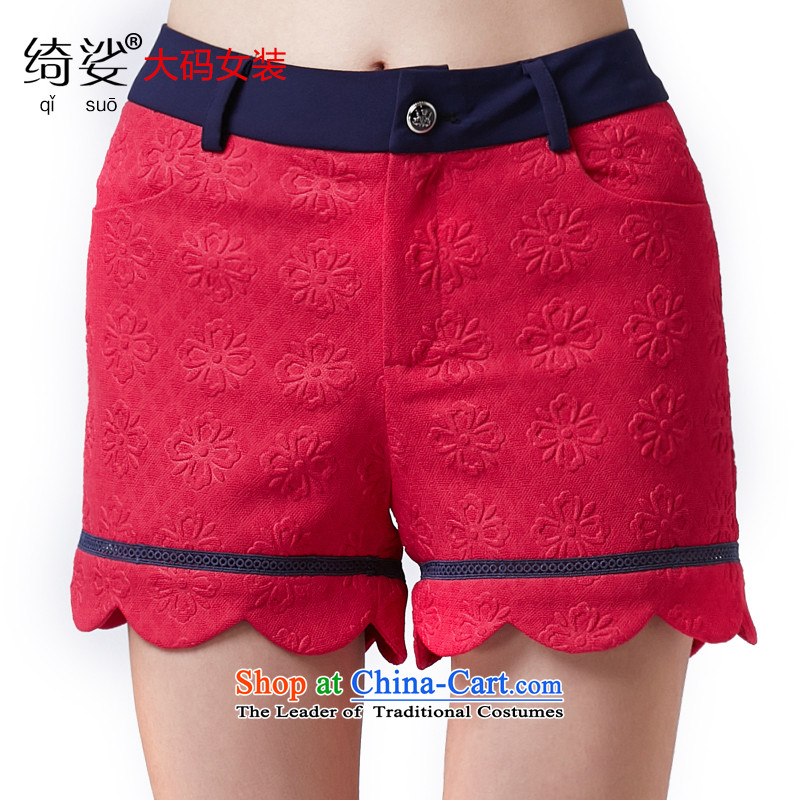 As provided for new spring MM thick larger female sweet jacquard video thin increase wild and small volume of 2583 by shorts red XL