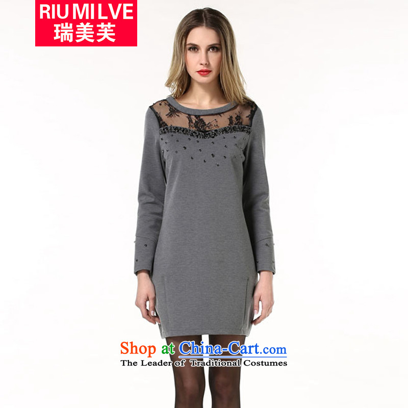 Rui Mei to 2015 XL women with European and American Popular staples fall bead gauze stitching thick, Hin thin long-sleeved dresses N1860 XXXL Gray