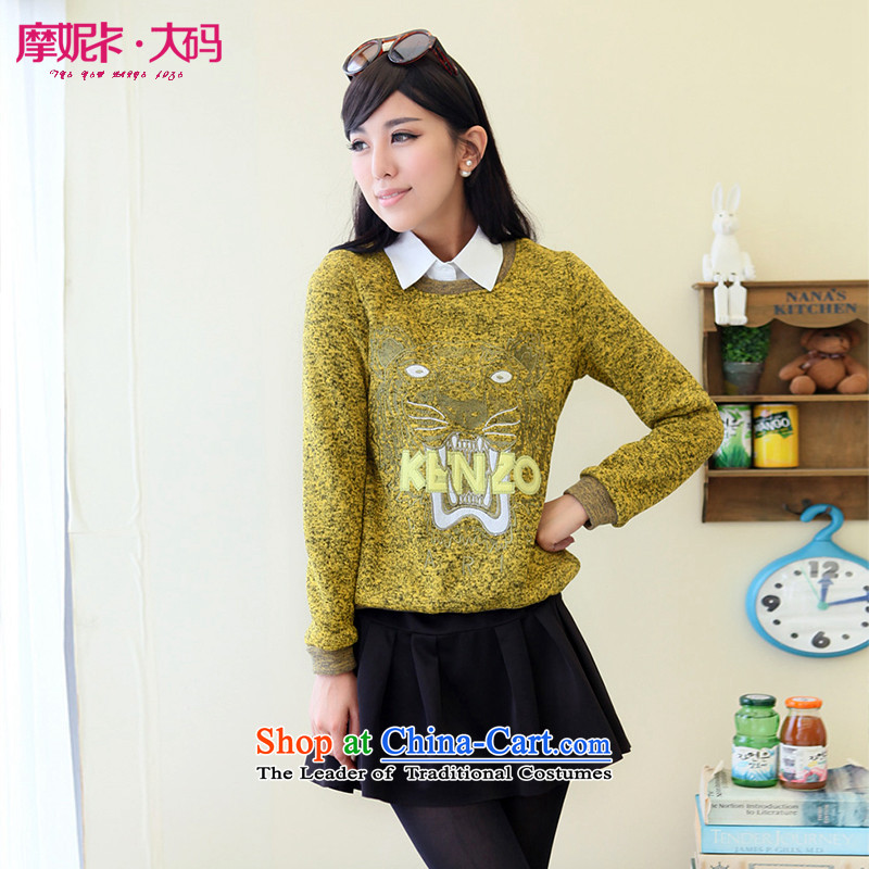 Maximum number of ladies 2014 Fall/Winter Collections new fat mm draw lint-free sweater girl long-sleeved Pullover embroidery loose video thin yellow shirt tiger head XXXL sweater