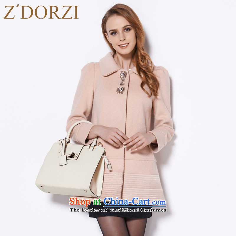 Zdorzi colorful Cheuk-yan autumn and winter new Korean version of diamond pure color爐oner apricot overcoat 828557?燲L