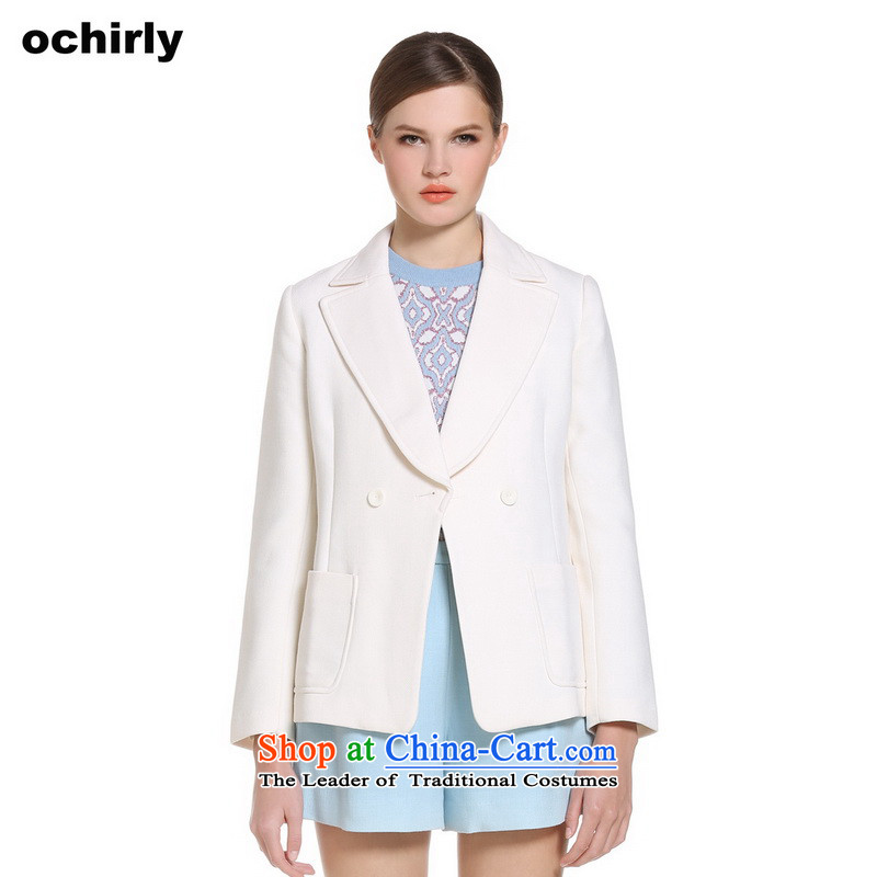 The new Europe, ochirly female western style, double-reverse collar suit coats 1141340750 gross? m White S(160/84a) 010