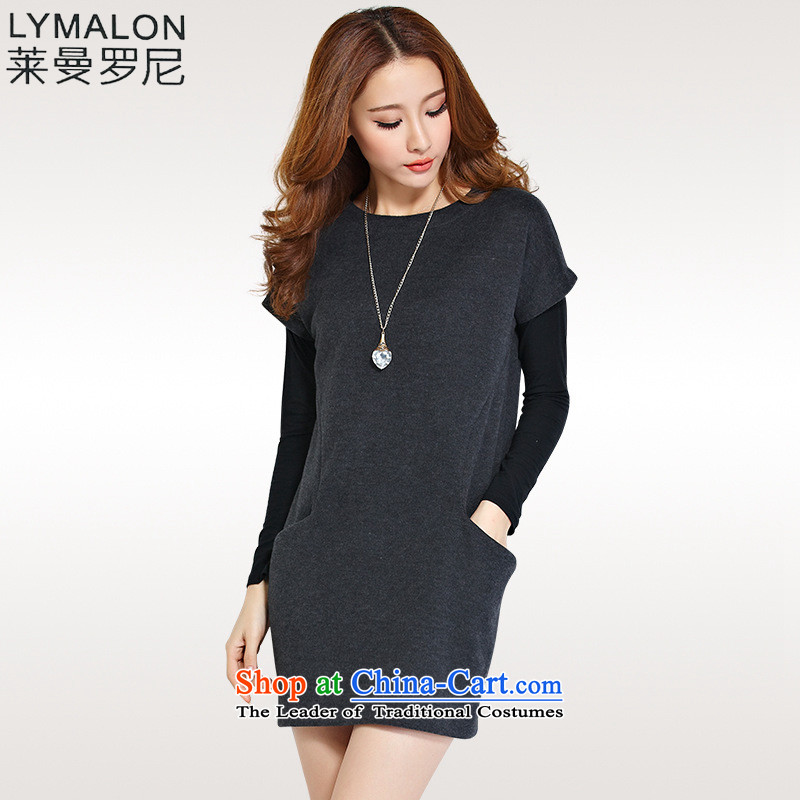 The lymalon lehmann autumn 2015 new Korean stylish large Sau San ladies casual kit dresses two kits 1181 XXXL Dark Gray
