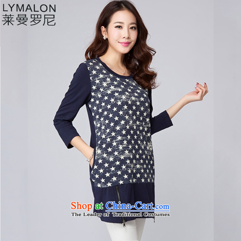 The lymalon lehmann thick, Hin thin 2015 Autumn new round-neck collar stars 7 Cuff A dress code for women 2002 large blue L