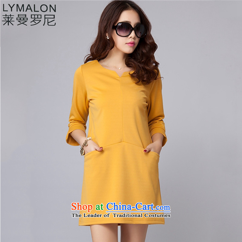 The lymalon lehmann thick, Hin thin 2015 Autumn replacing the new Korean version of large numbers of ladies commuter 7 cuff round-neck collar dresses yellow XXXXL 2004