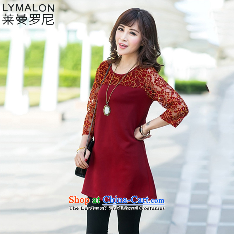 The lymalon lehmann thick, Hin thin 2015 Autumn replacing the new Korean version of large numbers of ladies lace Sau San 9 cuff dresses 2010 XXXXL wine red
