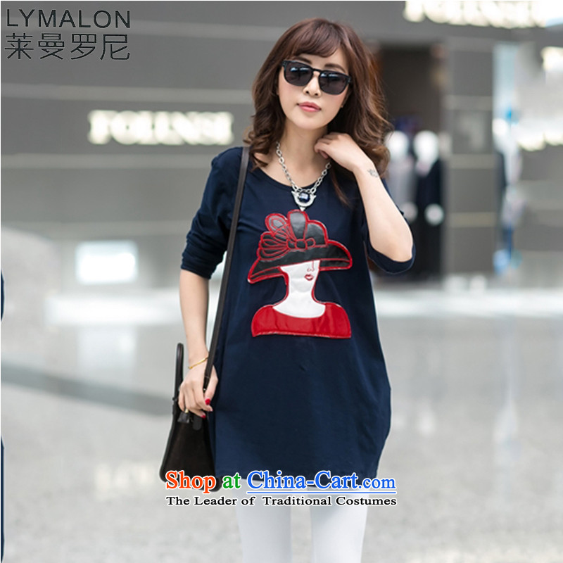 The lymalon lehmann thick, Hin thin 2015 Autumn replacing the new Korean version of large numbers of women from stamp long-sleeved round-neck collar dresses dark blue XXXXL 2012