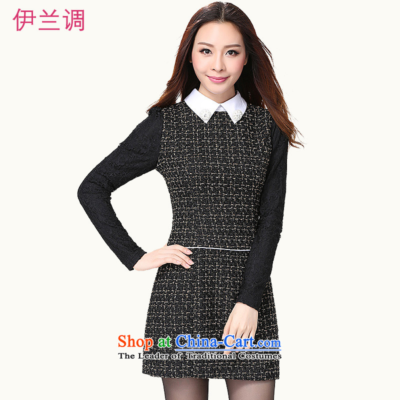 C.o.d. XL Korean dresses 2015 autumn and winter new temperament lapel Sau San short skirts, forming the long-sleeved skirts gross? Mrs female pro short skirt around 155-170 4XL Black catties