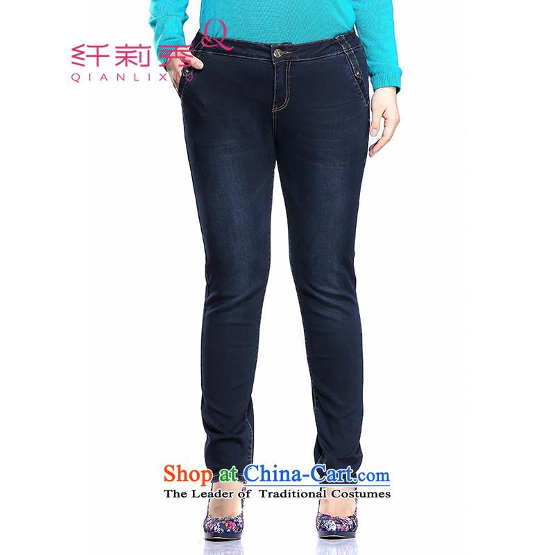 The former Yugoslavia Li Sau-Spring 2015 new larger female Korean Castor stretch jeans pants Q7967 Denim blue燲L