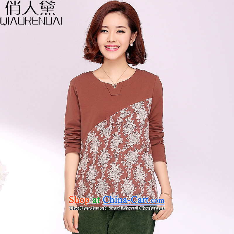 For people with spring 2015 the new Korean saika large long-sleeved T-shirt, forming the basis for middle-aged Ms. shirt pure cotton clothes iron-soo video THIN REDM