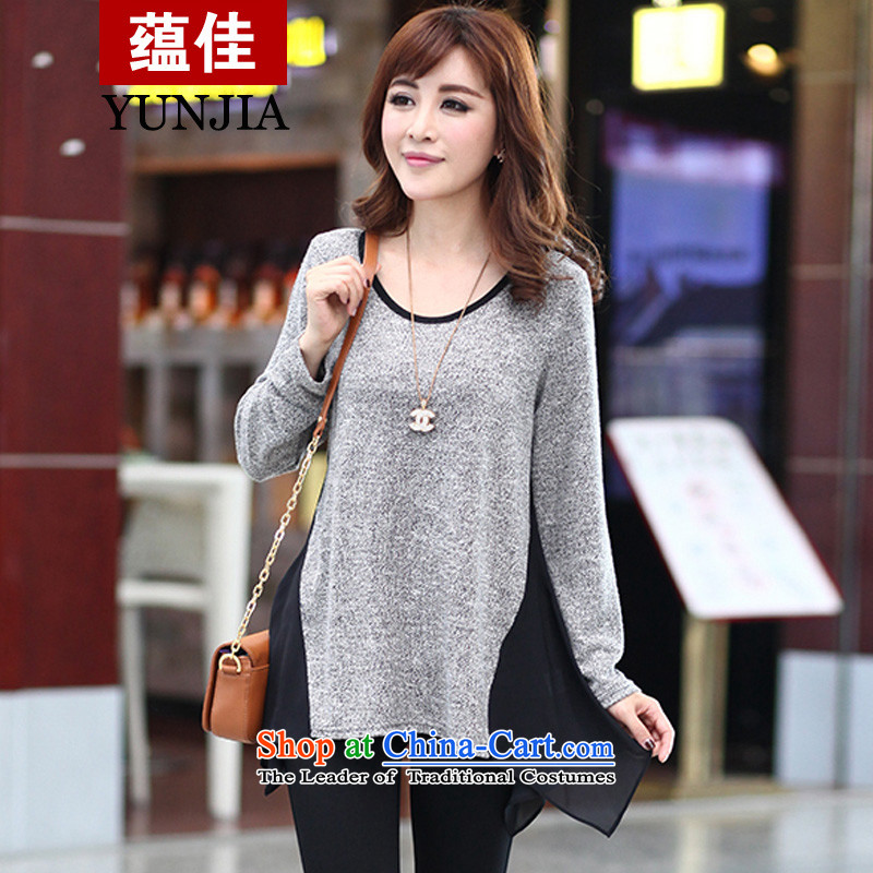 Better to wear the Netherlands female long-sleeved spring 2015 new products in long large women who do not dress rules thick color cotton T-shirts knocked gray XXL