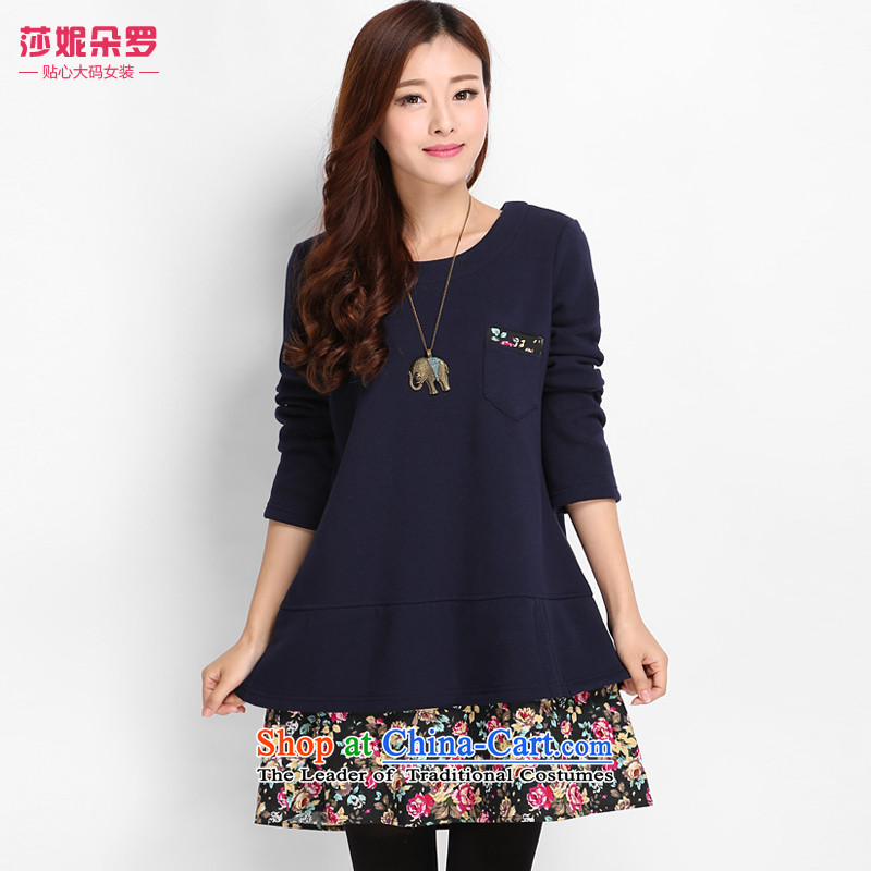 Luo Shani flower code women winter clothing to xl thick sister plus lint-free thick warm thick mm video thin, dresses 8,019 ex sapphire blue聽6XL_ warm video Thin_