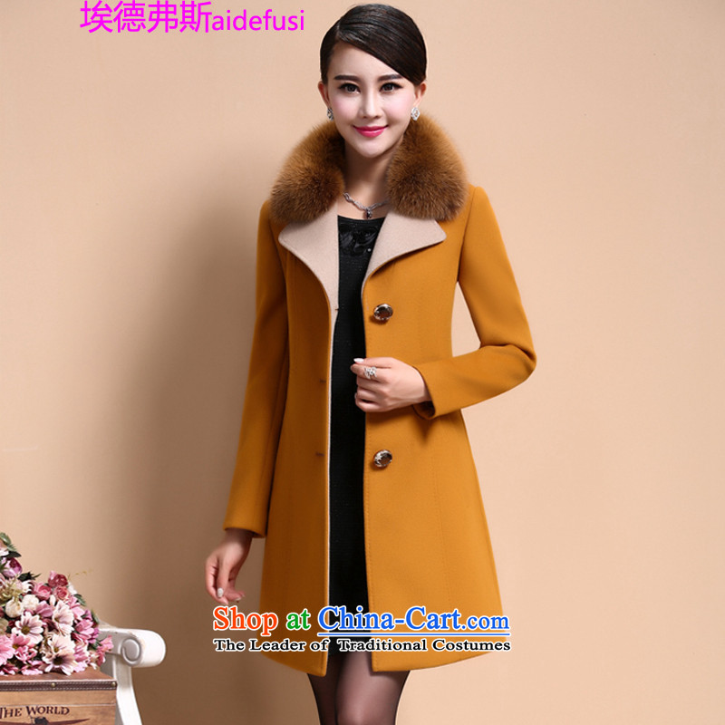 Mr. de Vries larger women Fall_Winter Collections thick sister to intensify the 2015 edition of the new, Korea long thin Connie sub-Sau San video coats gross? female yellow�L Jacket