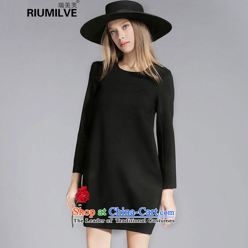 Rui Mei to large 2015 Fall_Winter Collections for women to new xl thick mm thin loose long-sleeved forming the graphics dresses C7250 3XL black