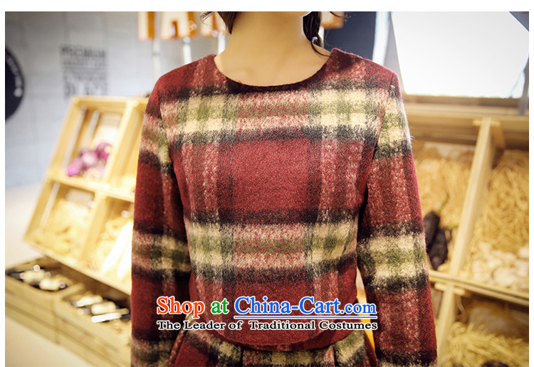 Maximum number of ladies 2015 Korean Spring New thick mm thin long-sleeved checkered Sau San video round-neck collar dresses skirt XXXXL latticed pictures, children price, brand platters! The elections are supplied in the national character of distribution, so action, buy now enjoy more preferential! As soon as possible.