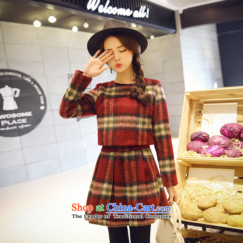 Maximum number of ladies 2015 Korean Spring New thick mm thin long-sleeved checkered Sau San video round-neck collar dresses skirt XXXXL children Grid