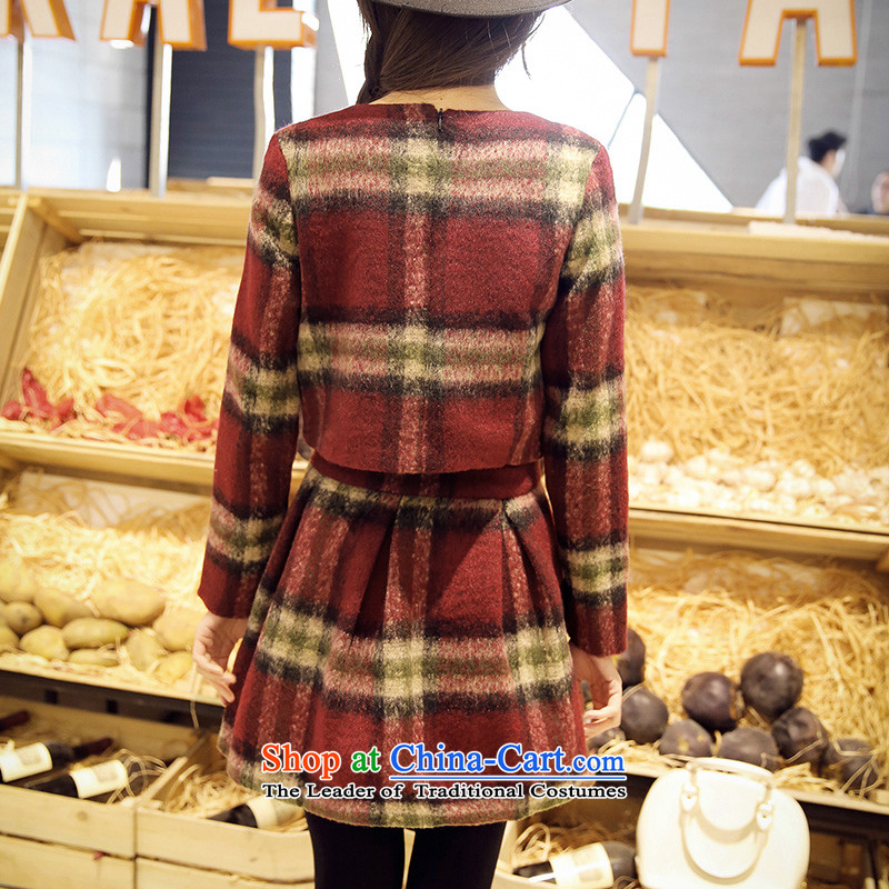 Maximum number of ladies 2015 Korean Spring New thick mm thin long-sleeved checkered Sau San video round-neck collar dresses skirt XXXXL, latticed Moses Connie children card , , , shopping on the Internet