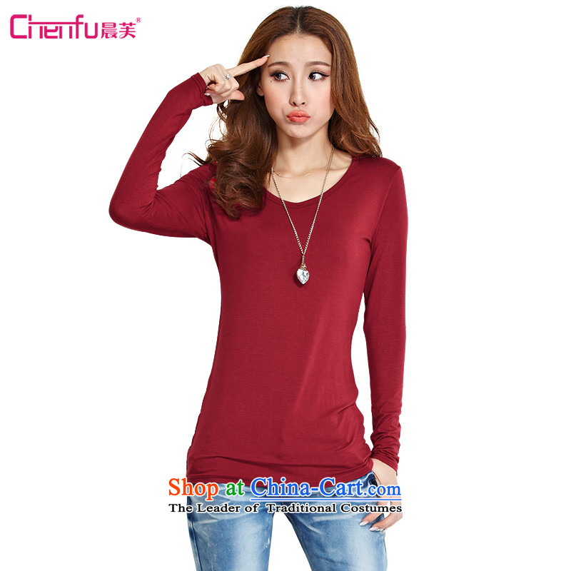 Morning to load the new 2015 autumn to increase women's code thick mm wild leisure T-shirt shirt collar peach thin graphics Sau San long forming the Netherlands?suggested that the burden of the chestnut horses 4XL_ 160-175_