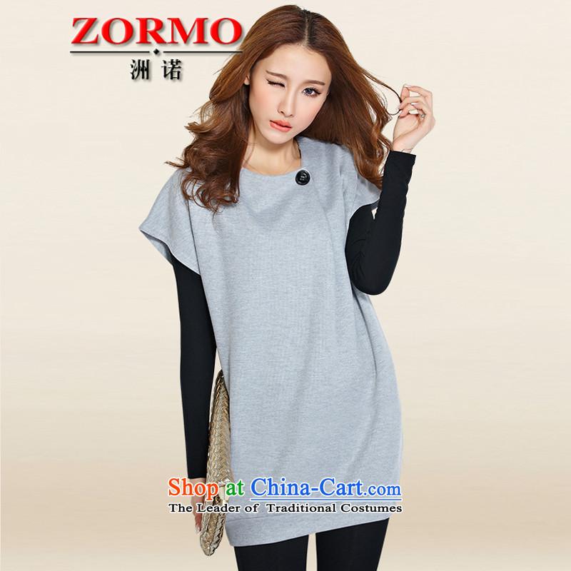 Large ZORMO female autumn and winter fat mm to xl dresses two kits king leisure short skirt light grayXL