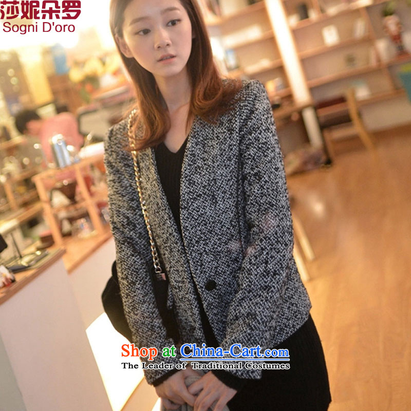Luo Shani flower girl jackets expertise code mm winter clothing to intensify the 2015 New Korean video thin a wool coat 4,799won for the graphics 2XL- gray Thin)
