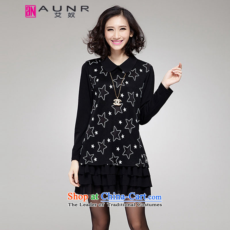 Ainu  autumn 2015 new for women Korean version of large numbers of ladies stamp petokraka long-sleeved dresses female black XXL (120-140 1496 catties)