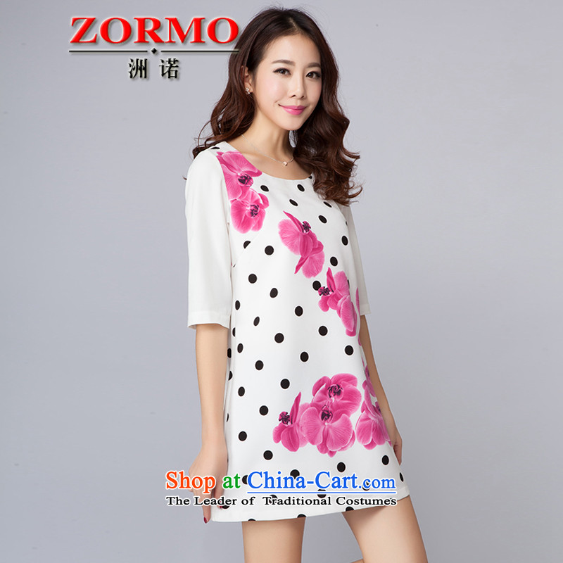 The fall of 2015 ZORMO female thick mm to xl dresses 7 point wave stamp leisure cuff short skirts XXXL White