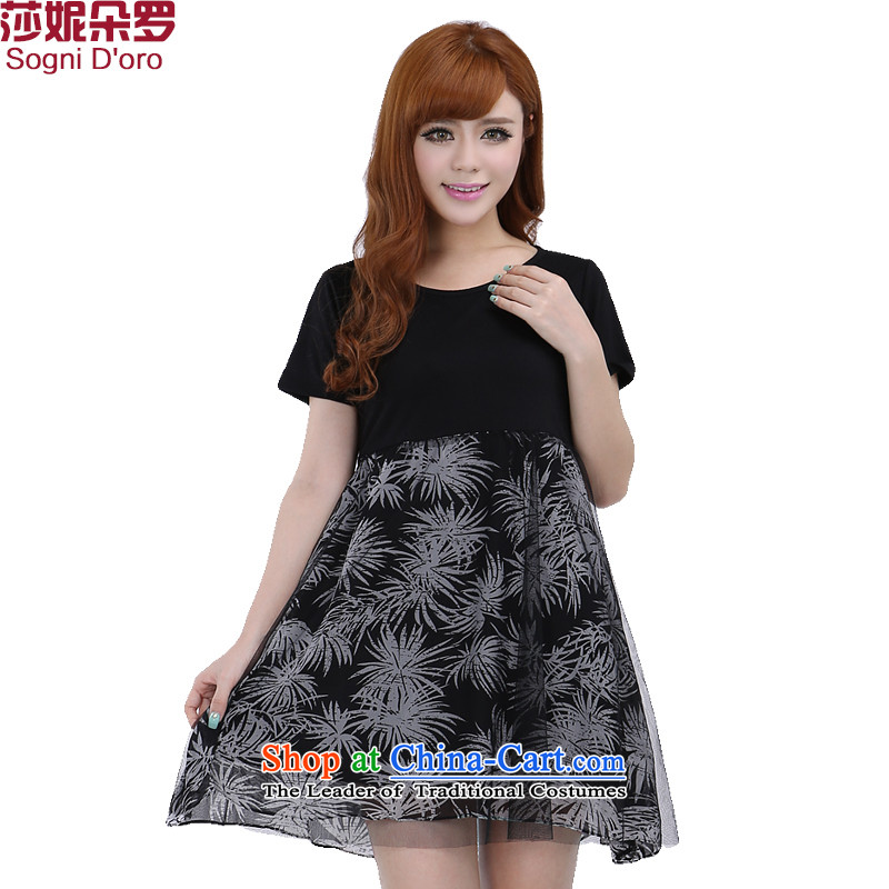 Shani flower, thick girls' Graphics thin, dresses larger thick sister summer chiffon skirt聽5XL 6277 Black