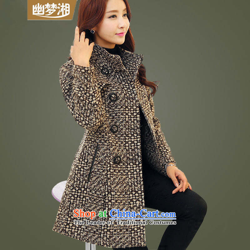 Meng Xiang爏pring and autumn 2015 new Korean lady children in long double-wool a winter coats jacket female thick cotton plus 8961 Brown燲XL